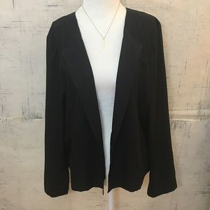 Eileen Fisher Tencel Black Open Front Cardigan